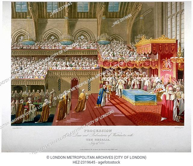 Coronation of King George IV, Westminster Hall, London, 1821 (1824). 'Procession of the Dean and Prebendaries of Westminster with the regalia, July 19th 1821'