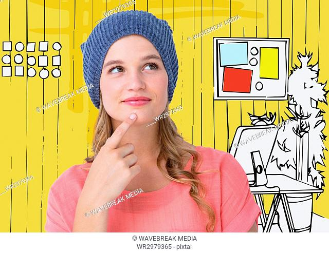Millennial woman thinking against 3D yellow hand drawn office