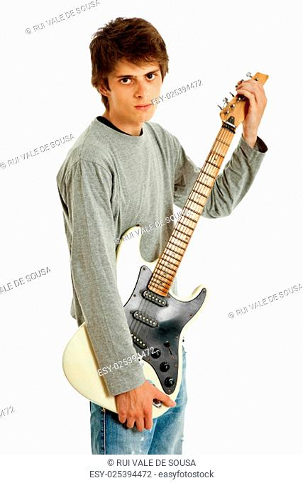 young guitar kid isolated on white background