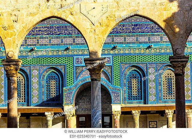 Mosaics Arches Dome of the Rock Islamic Mosque Temple Mount Jerusalem Israel. Built in 691 One of most sacred spots in Islam where Prophet Mohamed ascended to...