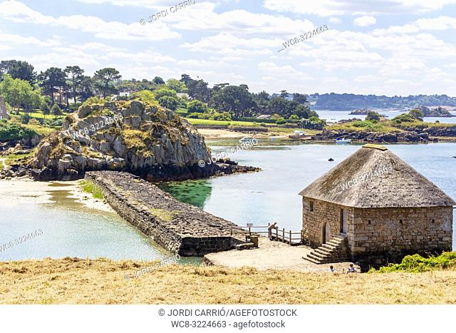 ISLANDS OF BRÉHAT, BRITTANY, FRANCE: View of Birlo Tide Mill from the hill of Saint Michel Church