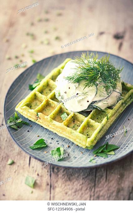 Pea waffles with soy yoghurt