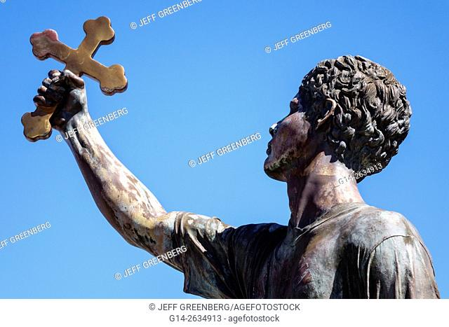 Florida, FL, Tarpon Springs, St Nicholas Greek Orthodox Cathedral, church, statue, Epiphany Day diver, holding cross