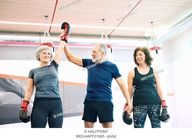 Group of happy seniors working out in gym, boxing