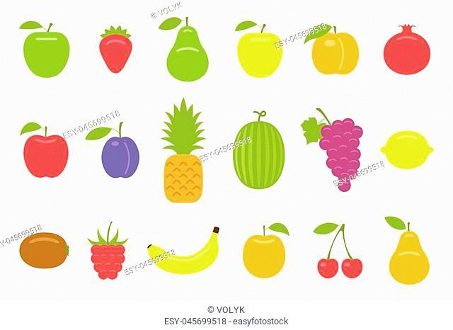 Fruits. flat style. isolated on white background