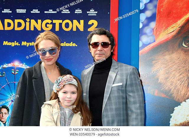 """""""""""""""Paddington 2"""""""" US Premiere at Village Theater on January 6, 2018 in Westwood, CA Featuring: Lou Diamond Phillips, wife, daughter Where: Westwood, California"""