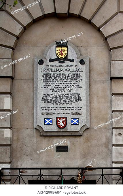 Memorial to Sir William Wallace, West Smithfield, London
