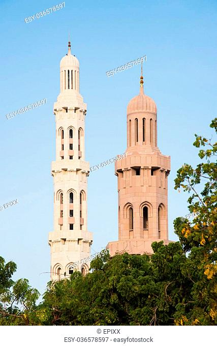 Two minarets at Sultan Qaboos Grand Mosque in Muscat, the main mosque of The Sultanate of Oman