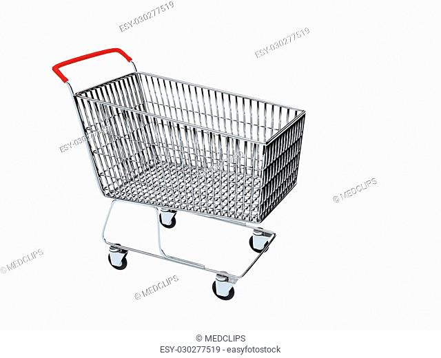Render illustration of supermarket shopping cart isolated on white with copy space. Shopping concept