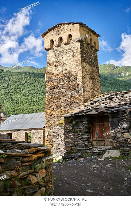 Stone medieval Svaneti tower houses of Ushguli, Upper Svaneti, Samegrelo-Zemo Svaneti, Mestia, Georgia. Ushguli is a group of four remote villages