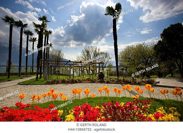 Minusio, Switzerland, canton Ticino, park, garden, flowers, tulips, rhododendron, trees, palms, stair, clouds, mountains, spring, lake, Lago Maggiore