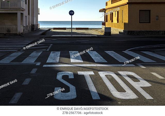 A traffic sign view in Playa Lisa beach, Alicante, Spain