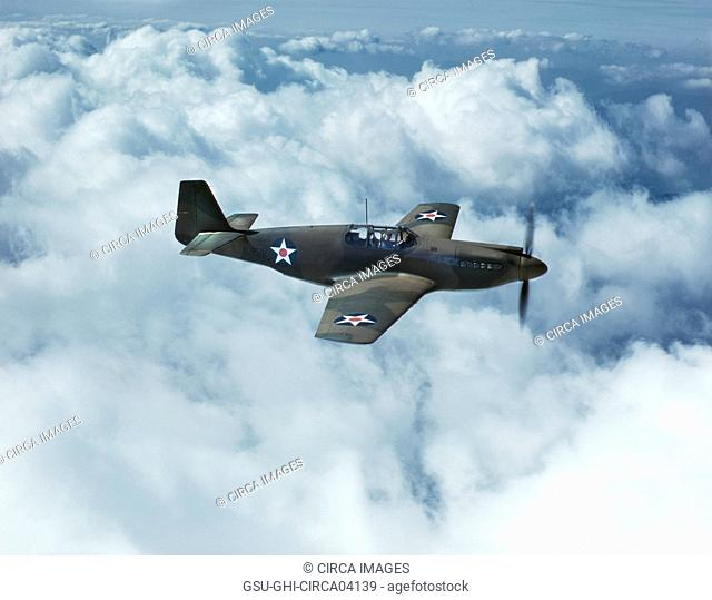 P-51 Mustang Fighter during WWII Training Flight, North American Aviation, Inc., California, USA, Mark Sherwood for Office of War Information, October 1942