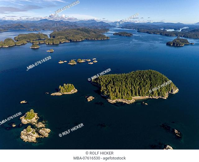 Aerial photograph of the Broughton Archipelago Marine Park and the entrance of Knight Inlet, First Nations Territory, British Columbia, Canada