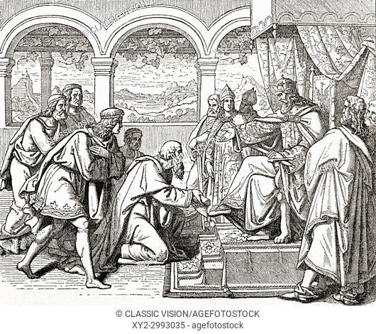 "Ambassadors from Harun al-Rashid bearing gifts to the court of Charlemagne, c. 799. Harun al-Rashid, 763/766 . "" 809. Fifth Abbasid Caliph"