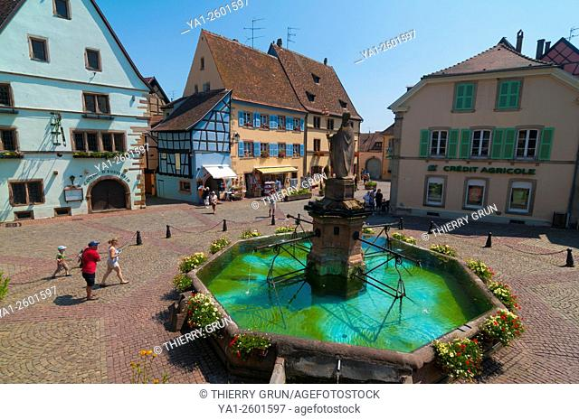France, Haut Rhin (68), Eguisheim village (elected most beautiful french village), square Saint Leon
