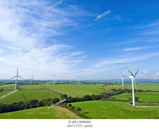 Aerial View Of Turbines On Wind Farm In UK Countryside