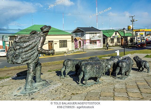 monumento al ovejero, Punta Arenas -Sandy Point-, Patagonia, República de Chile,América del Sur