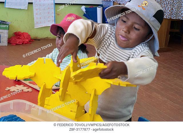 In the Kindergarten of Taquile island. Peru