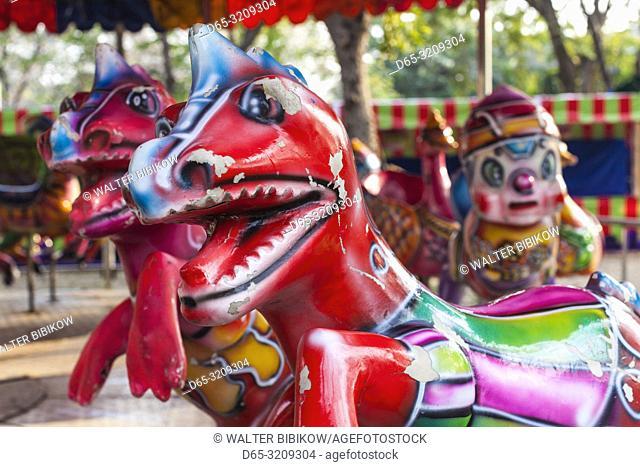 Thailand, Bangkok, Lumphini Area, Lumphini Park, carousel figure