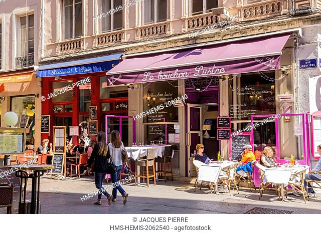 France, Rhone, Lyon, historical site listed as World Heritage by UNESCO, Cordeliers district, Merciere street