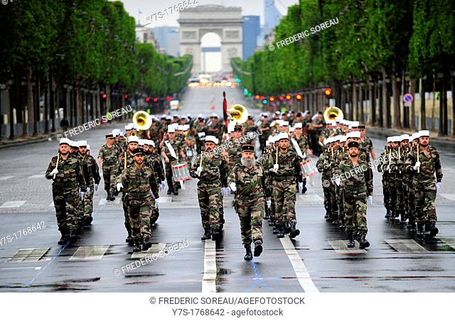 Preparating for the National Day parade on 14 th july at Champs Elysees in Paris,France,Europe