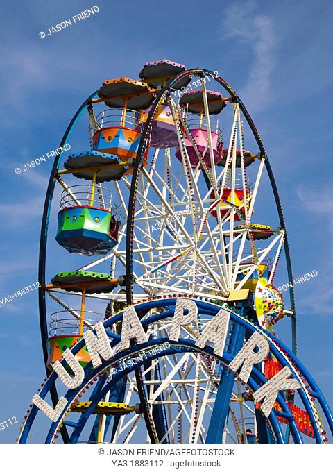 England, North Yorkshire, Scarborough  Scarborough Luna Park, a seaside fairground located near Scarborough Harbour, in the seaside resort of Scarborough