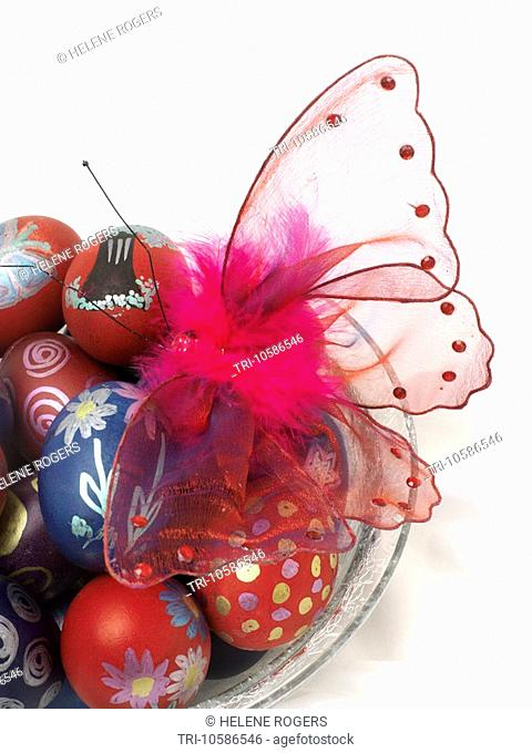 Painted Chicken Eggs and Butterfly