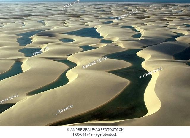 Aerial image of rain ponds in between sand dunes, Lencois Maranhenses, Maranhao, Brazil