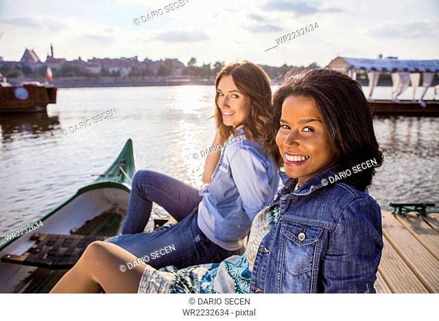 Portrait of two women on a city break in Warsaw