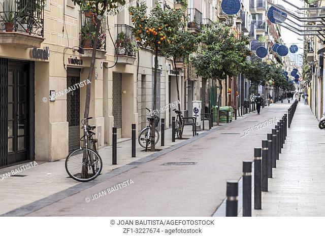 Old street in Poblenou quarter of Barcelona