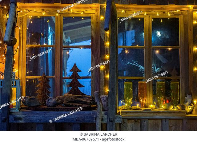 Christmassy decoration at the window, Europe, Switzerland, St Gallen, Ebnat Kappel