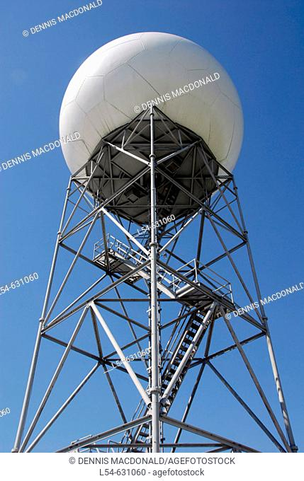 Satellite Microwave Dish Ball. National Oceanic and Atmospheric Administration (NOAA). National Weather Service Station. Ruskin. Florida. Tampa