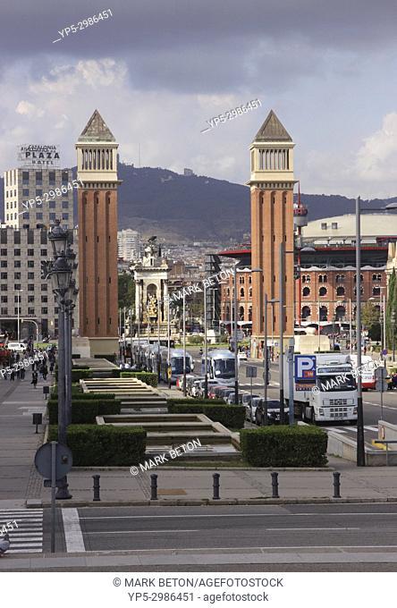 Venetian style Towers Placa d'Espanya, Barcelona, Spain