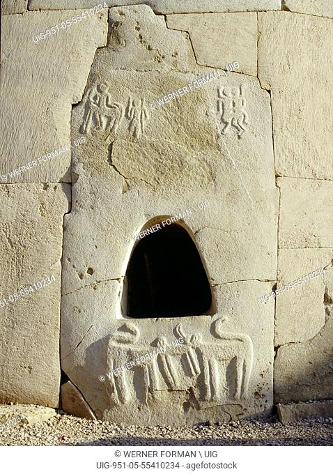 Northwest entrance of Hili tomb, a multiple grave within a pillbox shaped structure of finely dressed stones