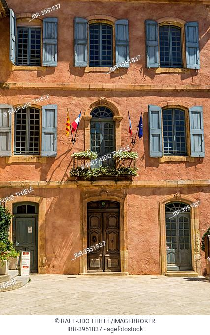 City Hall painted with ocher, Roussillon, Provence, Vaucluse department, Provence-Alpes-Côte d'Azur, France