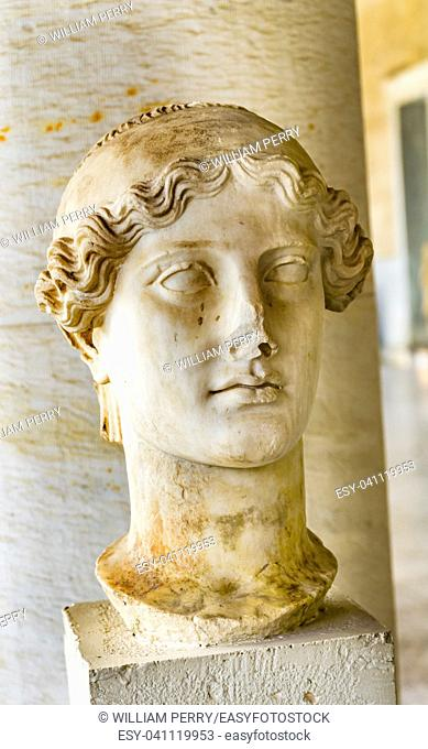 Ancient Nike Goddess Victory Statue Stoa of Attalos Agora Market Place Athens Greece. Statue 138-161 AD Stoa built in 150 BC