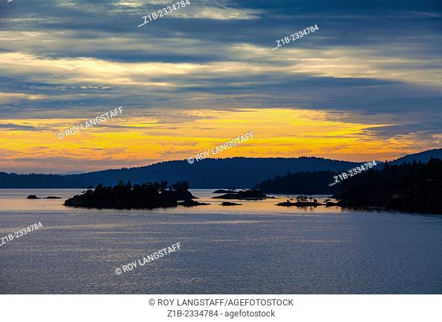 Sunset over Saltspring Island in the Gulf Islands near Vancouver Island, Canada