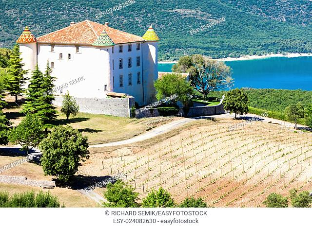 chateau in Aiguines and St Croix Lake at background, Var Department, Provence, France