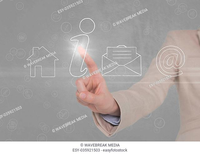 businessman using contact icon interface