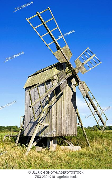 Historical windmill on the skirts of the village of Himmelsberga, Oland island, Sweden