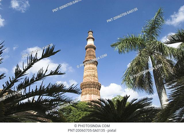 Low angle view of a tower monument, Qutab Minar, New Delhi, India