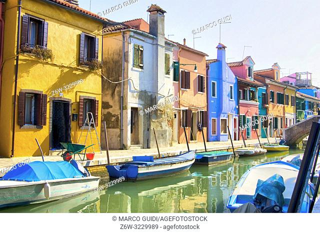 View of the small and colorful village of Burano near Venice