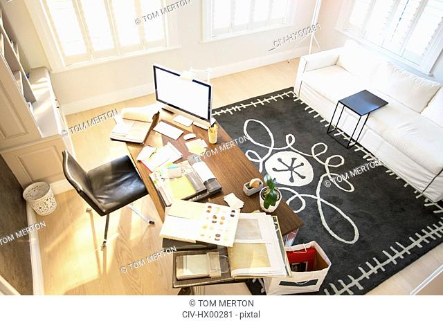 High angle view of interior designer's office