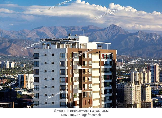 Chile, Santiago, elevated city view towards the Andes Mountains, dusk