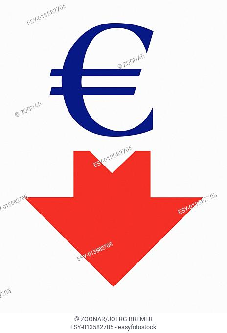 Euro sign with arrow down