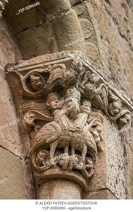 Capitals in the apse of Romanesque church San Andrés of 12th century in Soto de Bureba, province Burgos, Castile and Leon, Spain