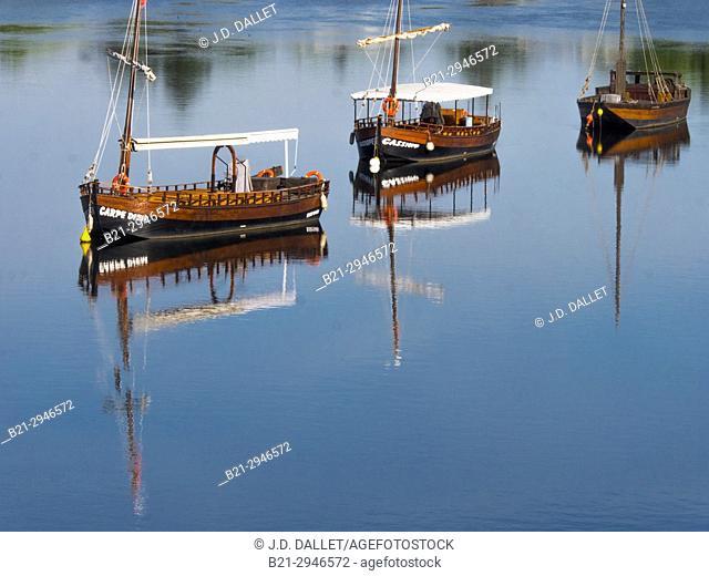 "France, Nouvelle Aquitaine,Dordogne, """"Gabare"""" boats on the Dordogne river at Bergerac"