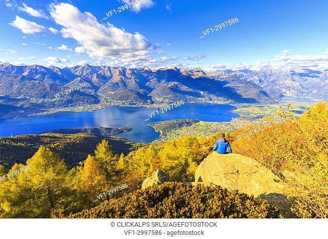 Lookout from the top of Legnoncino during autumn. Mount Legnoncino, Varrone Valley, Lombardy, Italy