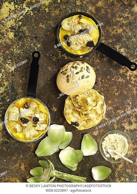 tortillas con alcachofas y semillas / tortillas with artichokes and seeds